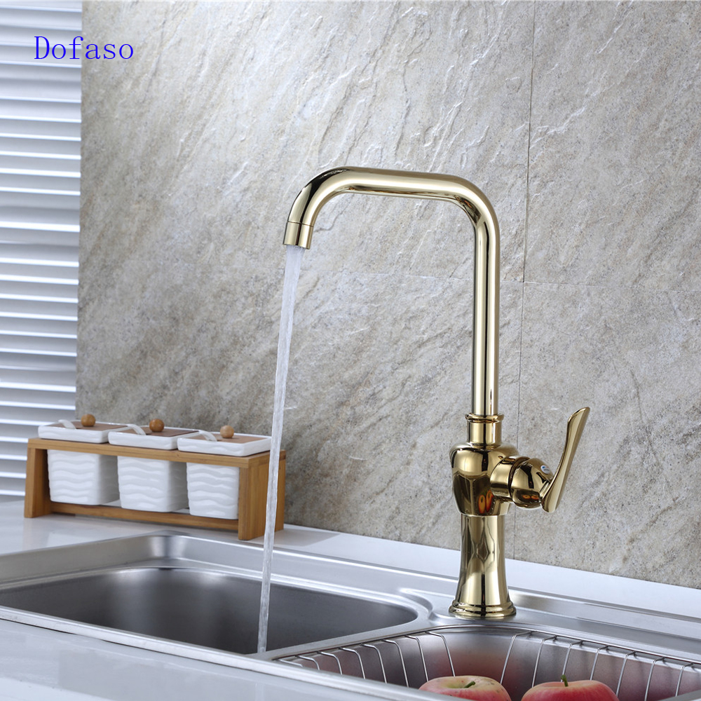 dofaso luxury antique brass kitchen sink gold faucet chrome vintage brass gold faucet hot and cold kitchen mixer