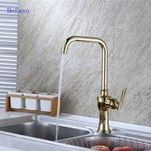 Dofaso люкс античная латунь кухня раковина золотой кран Chrome винтаж Латунь Золото Кран горячей и холодной смеситель для Кухни
