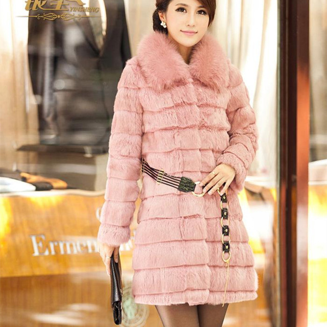 Winter Ladies' Genuine Real Rabbit Fur Coat Jacket with Fox Fur Collar Cotton lining Women Fur Outerwear Coats Plus Size VK0401