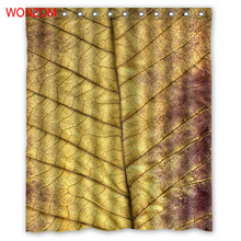WONZOM Golden Leaves Shower Curtains with 12 Hooks For Bathroom Decor Modern 3D Polyester Fabric Bath Waterproof Curtain
