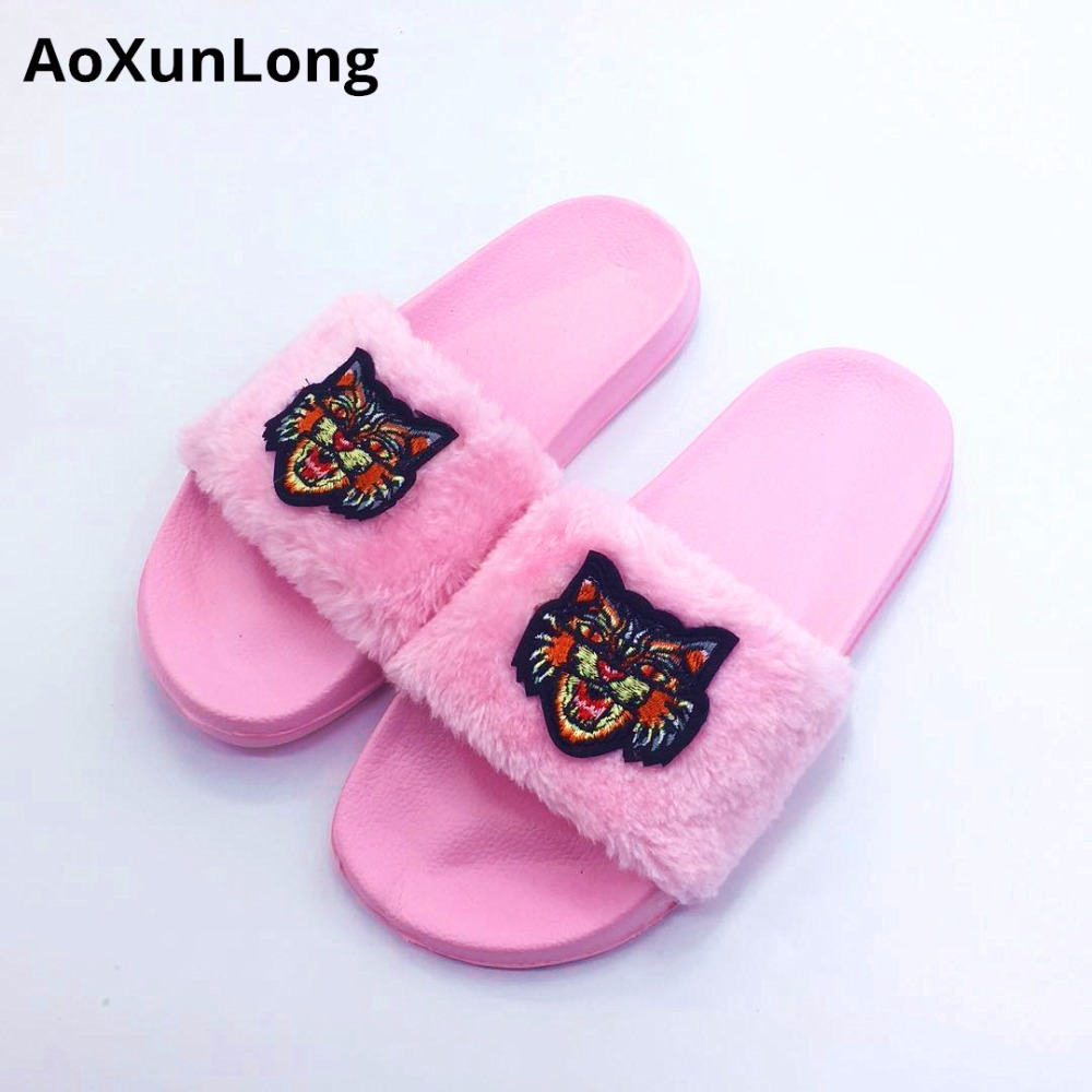 AoXunLong New Fur Slides Flip Flops Women Slippers Bayan Terlik - Women's Shoes