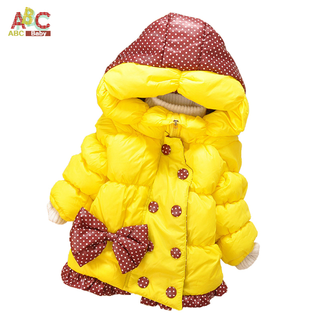 Meninas do bebê Casacos de Inverno Novo Casaco de Algodão Crianças Luva Cheia Casaco Quente da Menina Casaco de Inverno Casacos Grossos Do Bebê Menina roupas