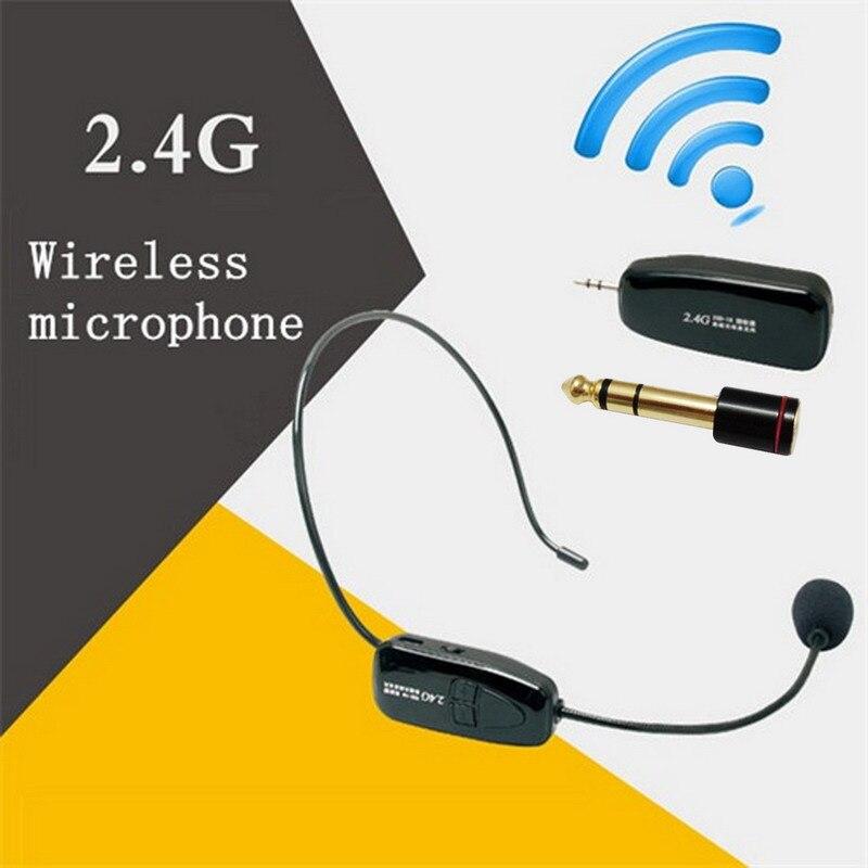 2.4g Sans Fil Microphone Discours Casque Mégaphone Radio Mic Pour Haut-Parleur Enseignement Guide des Réunions Mic Avec 6.5mm Adaptateur L3EF