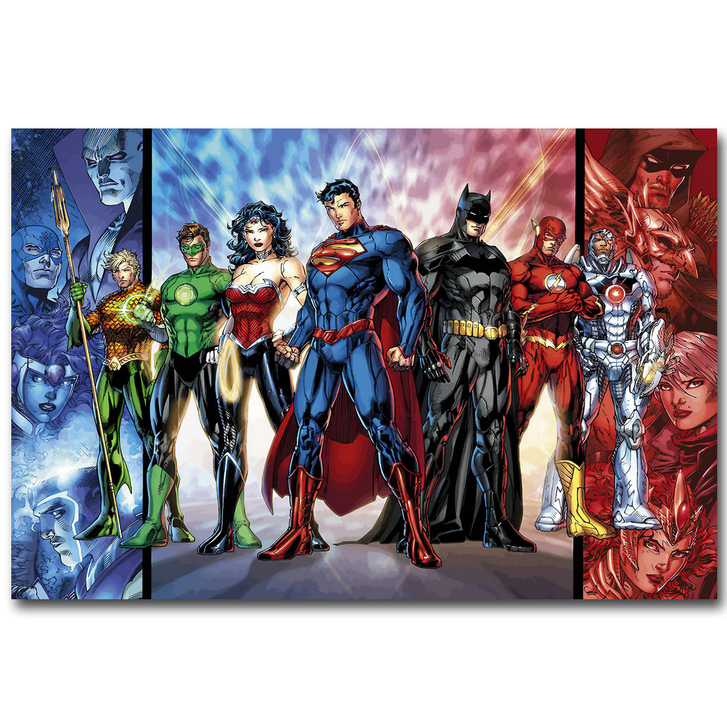 Justice League Superheroes Comic Art Silk Poster Print 13×20 24×36 inch Batman Superman Picture for Room Wall Decor 025