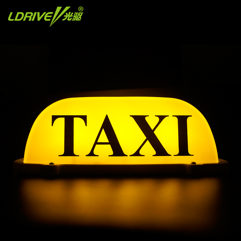LDRIVE 12V Cab Taxi Sign LED Yellow Magnet TAXI/CAB Light Waterproof Taxi Roof Light Car Magnetic Magnet Sign 275mm*120mm*95mm 45smd led white blue green red yellow car auto cab sign top light vehicles windscreen white led lamp dc 12v taxi light