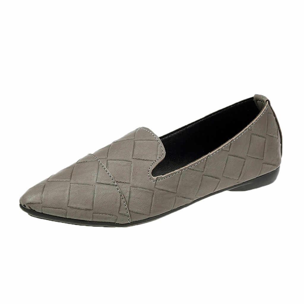 รองเท้าผู้หญิงรองเท้าส้นสูง Slip ชี้นิ้วเท้าส้นแบนสบายๆ Jobs รองเท้าแตะรองเท้า zapatos de mujer sapato feminino loafers