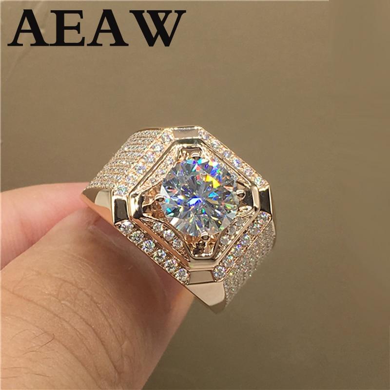18 K blanc jaune 750Au or 2 à 5ct Moissanite diamant homme anneau D couleur VVS avec certificat national