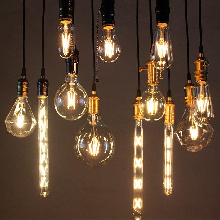 ФОТО LED Retro Tungsten Mini Lamp Bulb Small Chandelier Modern  Lamparas Colgantes Luminaire Light