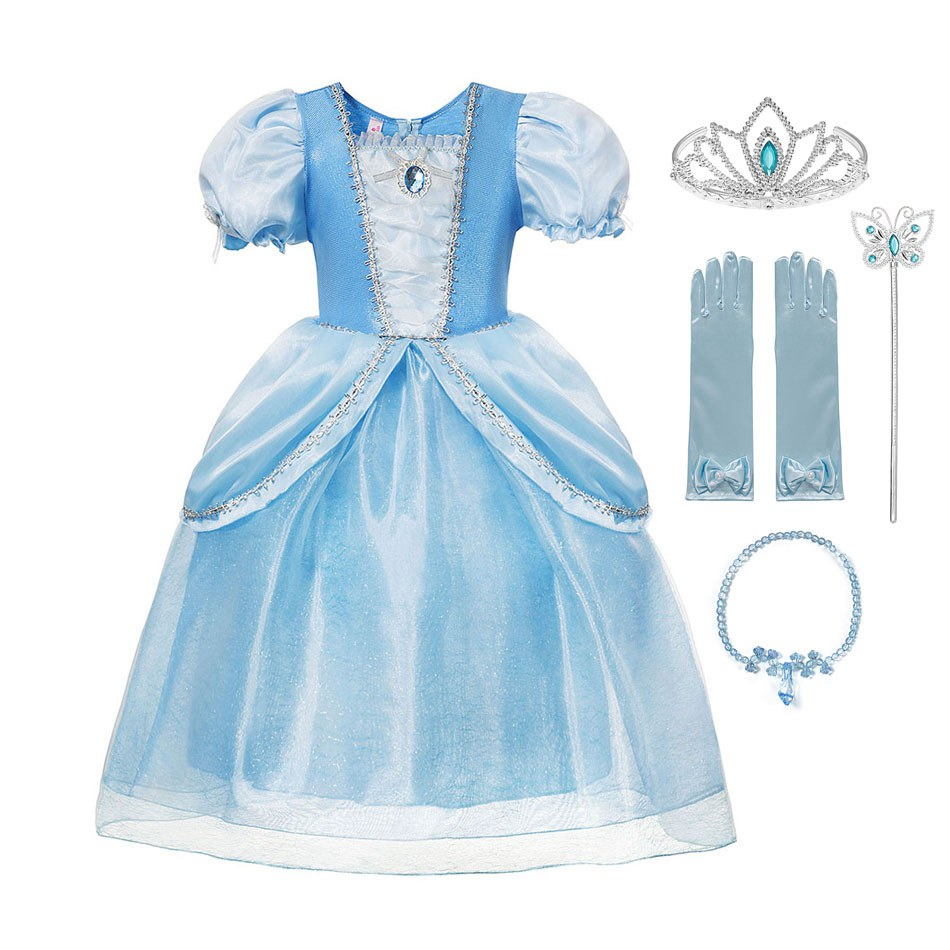 Girls Princess Costume for Cinderella Fancy Party Birthday Dress up,Blue