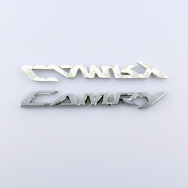 Car Auto 3D Chrome Silver 240G 240 G CAMRY Letter Rear Emblem Badge Sticker Case For Motorcycle Motorbike Toyota Accessory