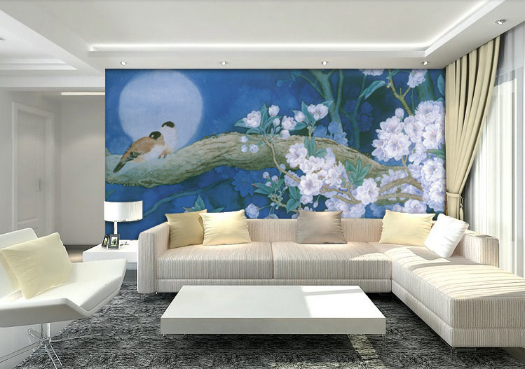 3d wallpaper custom mural non-woven picture 3d room wallpaper Two birds on the tree, and flowers photo 3d wall murals wallpaper the hermitage birds and flowers