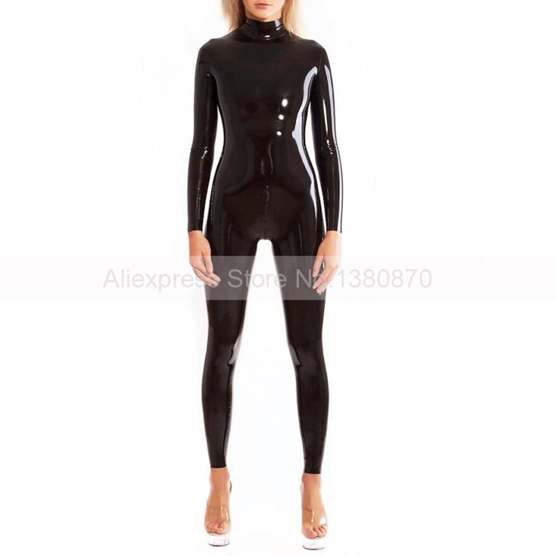 Combinaison femme Zentai en Latex de caoutchouc noir solide avec fermeture à glissière arrière S-LC197