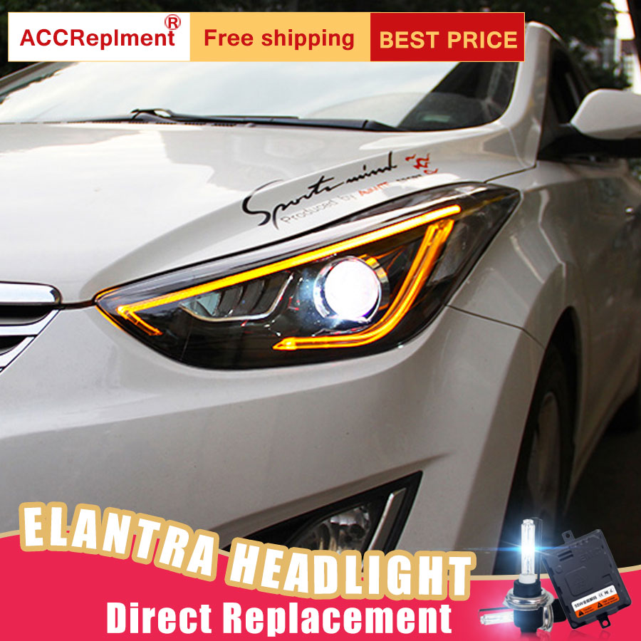 2Pcs LED Headlights For Hyundai Elantra 2013-2016 led car lights Angel eyes xenon HID KIT Fog lights LED Daytime Running Lights 1pcs hard shell backpack case bag camera drone bag backpack rc quadcopter case bag for hubsan x4 h501s rc quadcopter