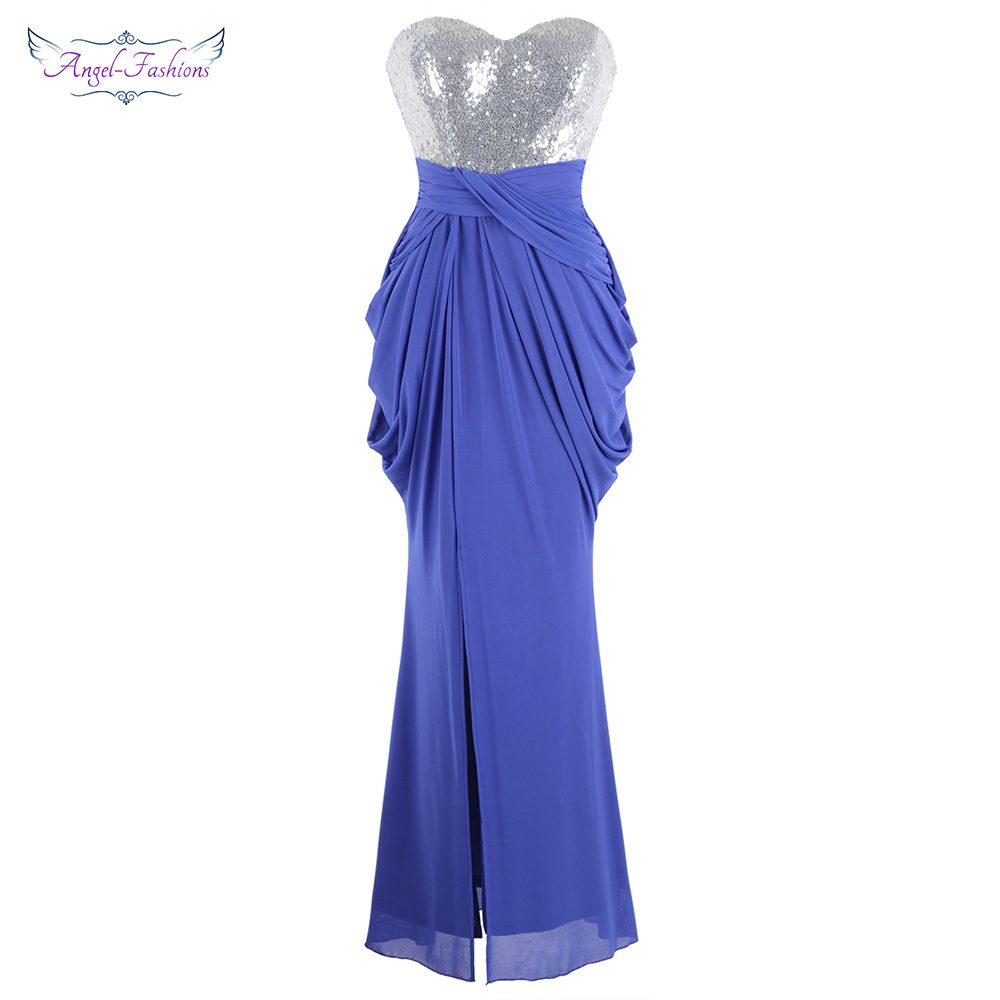 Angel-fashions Women's Strapless Sequin Ruched Pleated Slit Peplum Long   Evening     Dresses   Blue J-190108-S