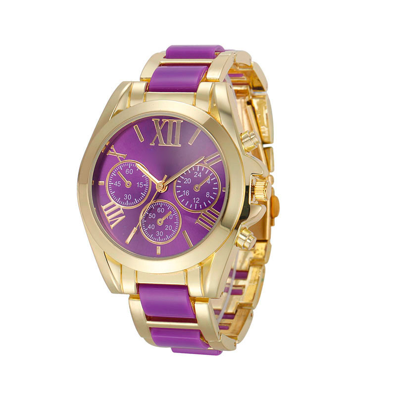 Women Roman Numeral Gold Plated Metall / Nylon Link Watch Brand New High Quality Luxury Watch # 120717