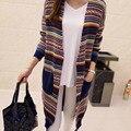 Donna Primavera y Otoño Mujeres Largo Cardigan Geométrico Rayado Del Color de Punto de Ganchillo Cardigans Suéter Casual Abrigos Tops M1108C