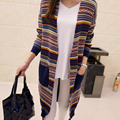 Donna Spring Autumn Women Long Cardigan Geometric Crochet Color Striped Knitted Cardigans Casual Sweater Coats Tops M1108C