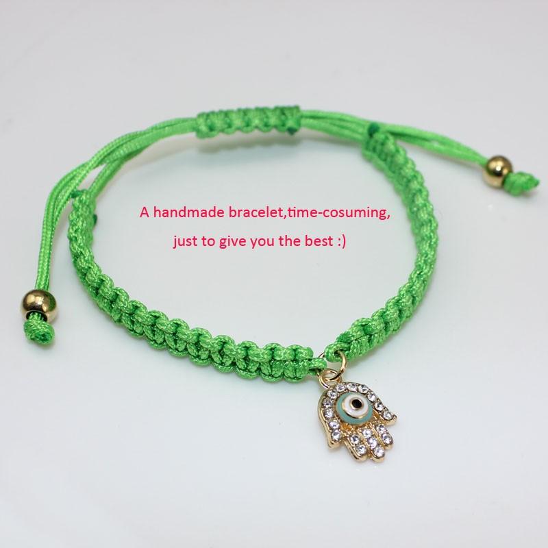 Handmade Braided Rope Bracelets Red Thread Turkish Jewelry Crystal Hamsa Hand Charm Bracelets Bring Lucky Peaceful Bracelets 23
