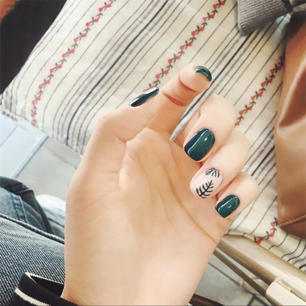 Künstlerisch Muster Fingernägel Das Beste Von 24 Teile/te Mädchen Blatt Nagel Kurze Design