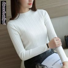 OHCLOTHING 2018 Free Shipping Women Stretch Knit Undershirt Retro Turtleneck Solid Sweater Knitted Wear Knitting Slim Pullovers