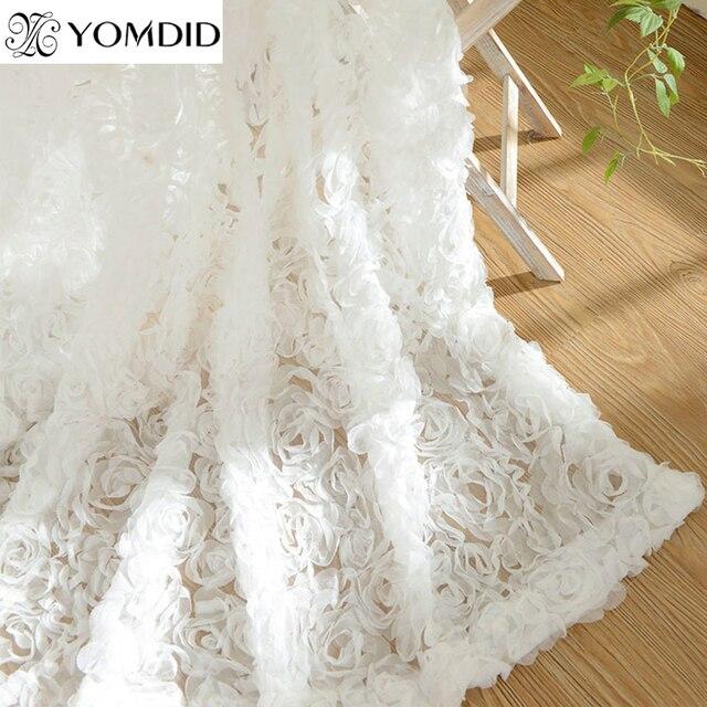 Yeni varış 3D güller mutfak oturma odası için perdeler yatak odası romantik çiçek perde Avrupa tarzı kısa tül perde cortina