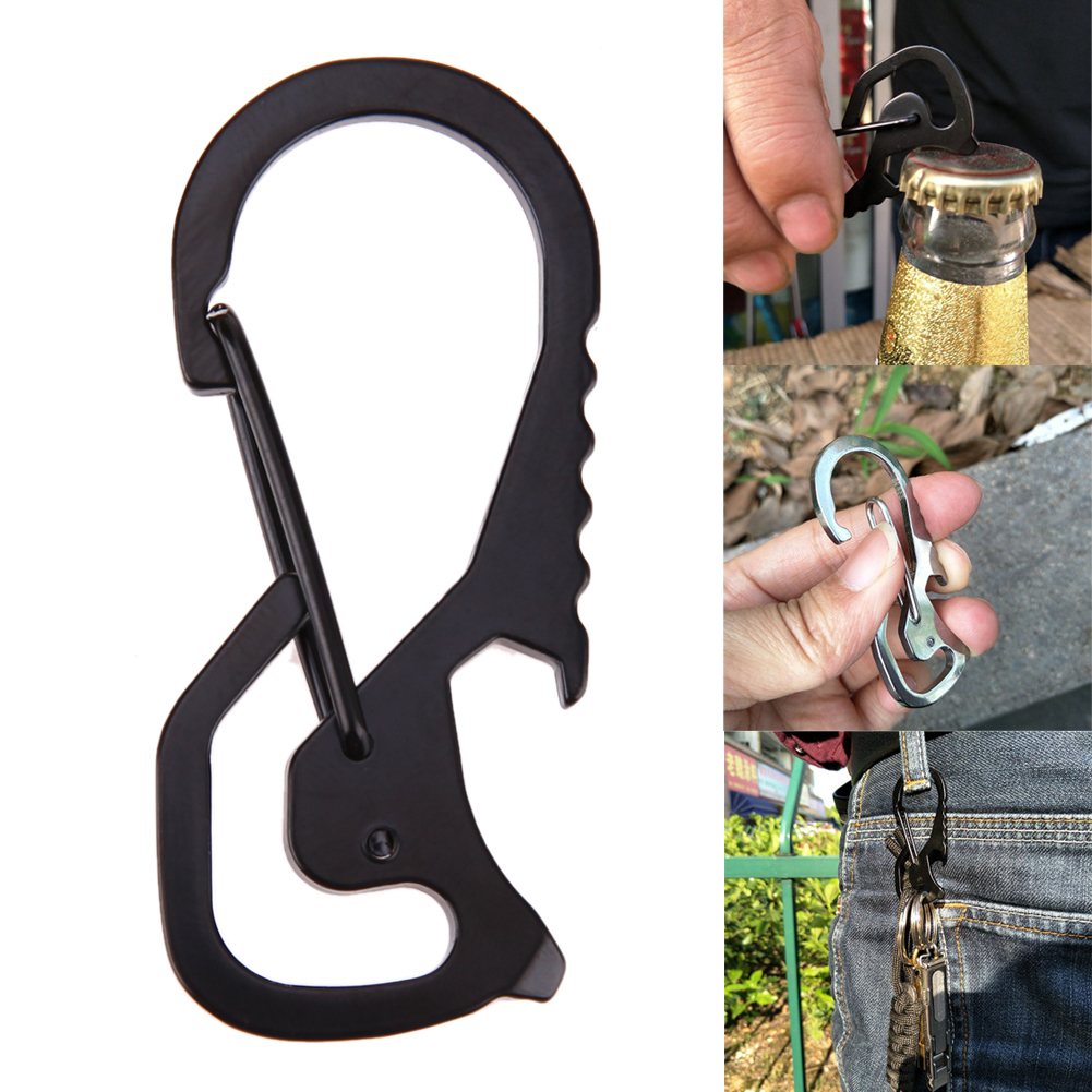Carabiner Keychain Hook Outdoor Stainless Steel Carabiner Cap Lifter Hex Driver Bottle Opener Keychain Ring Climbing Accessorie