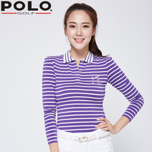 Brand New Polo Golf Stripes Polo Women Shirts Long Sleeve Collar Golf Clothing Mujer Femme Ladies Golf Clothes New Purple