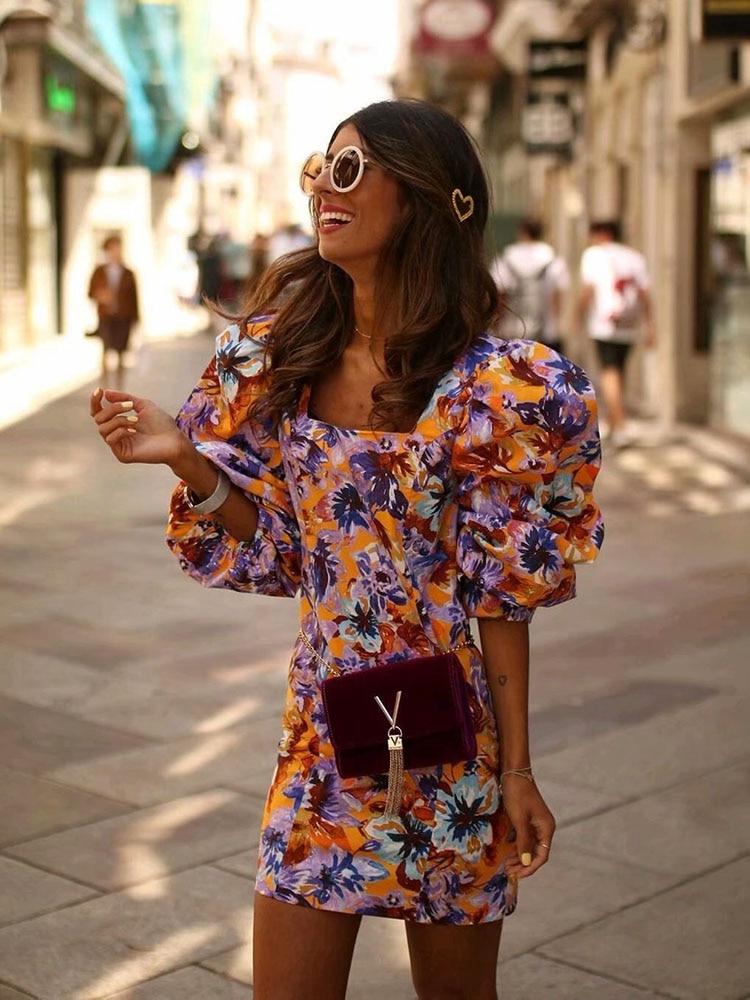 Stylish Chic Floral Print Loose Sleeve Dress Za 2019 Vintage Elegant Women Square Collar Mini Dresses