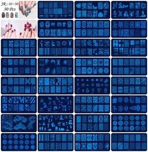 Image 2 - Plantillas para estampación de uñas JR, 30 Uds., de acero inoxidable, 30 estilos de imágenes, herramienta para estampado de uñas Nail Art para manicura