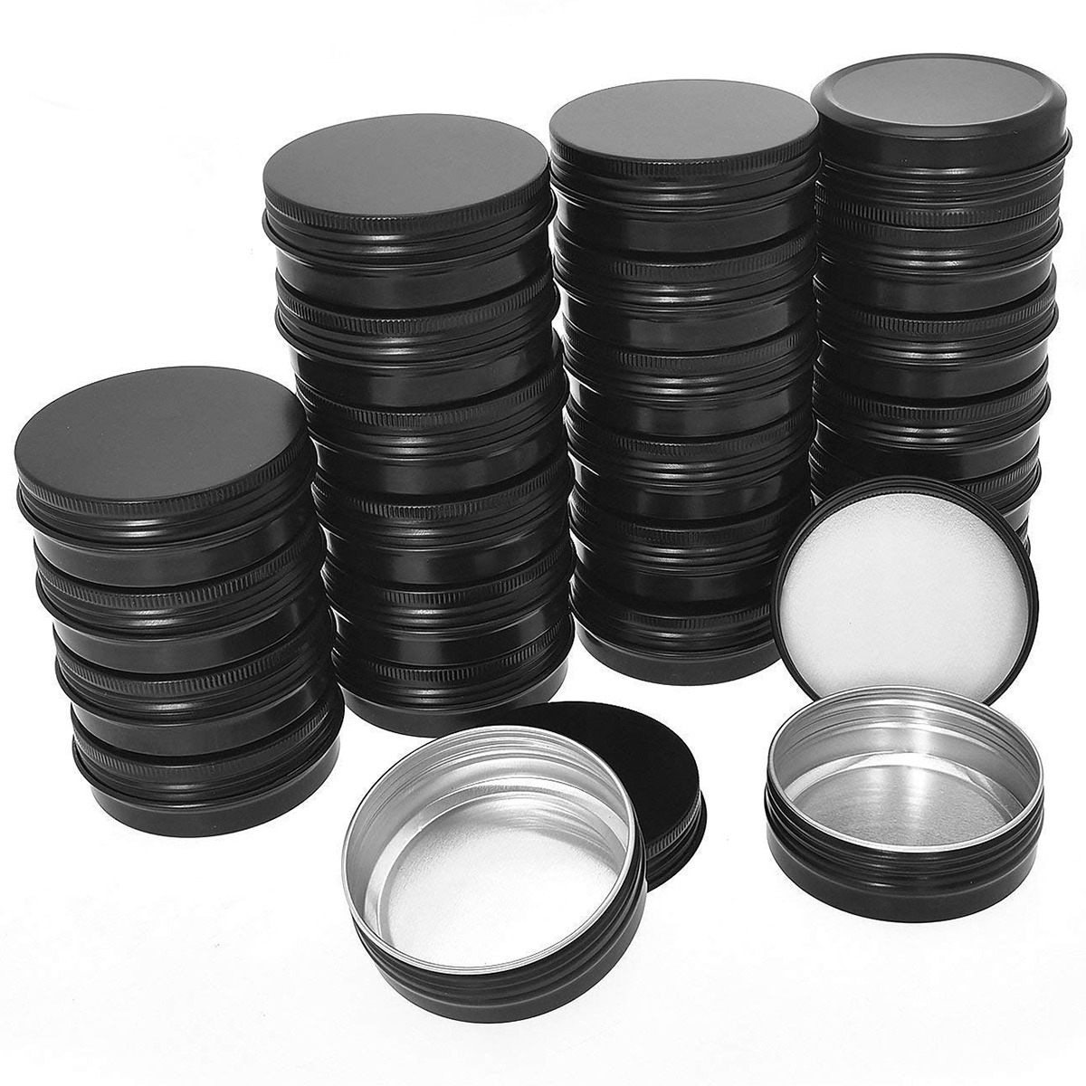 CHFL Aluminum Tin Cans - 40 Pack 1Oz / 30G Round Metal Tin Container Screw Top Cans Cosmetic Sample Containers Candle Travel T