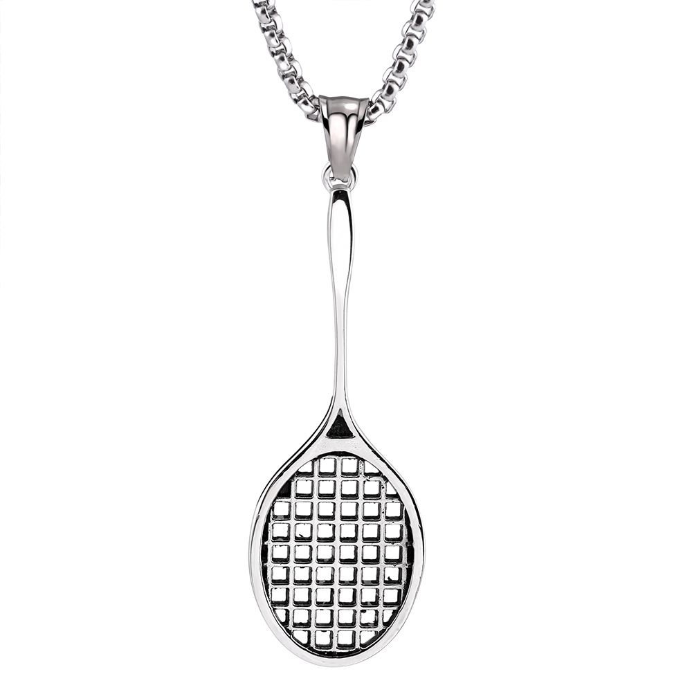Mens Fitness Jewelry stainless steel Casting Fitness Badminton racket necklace Pendant With 24 Rolo chain