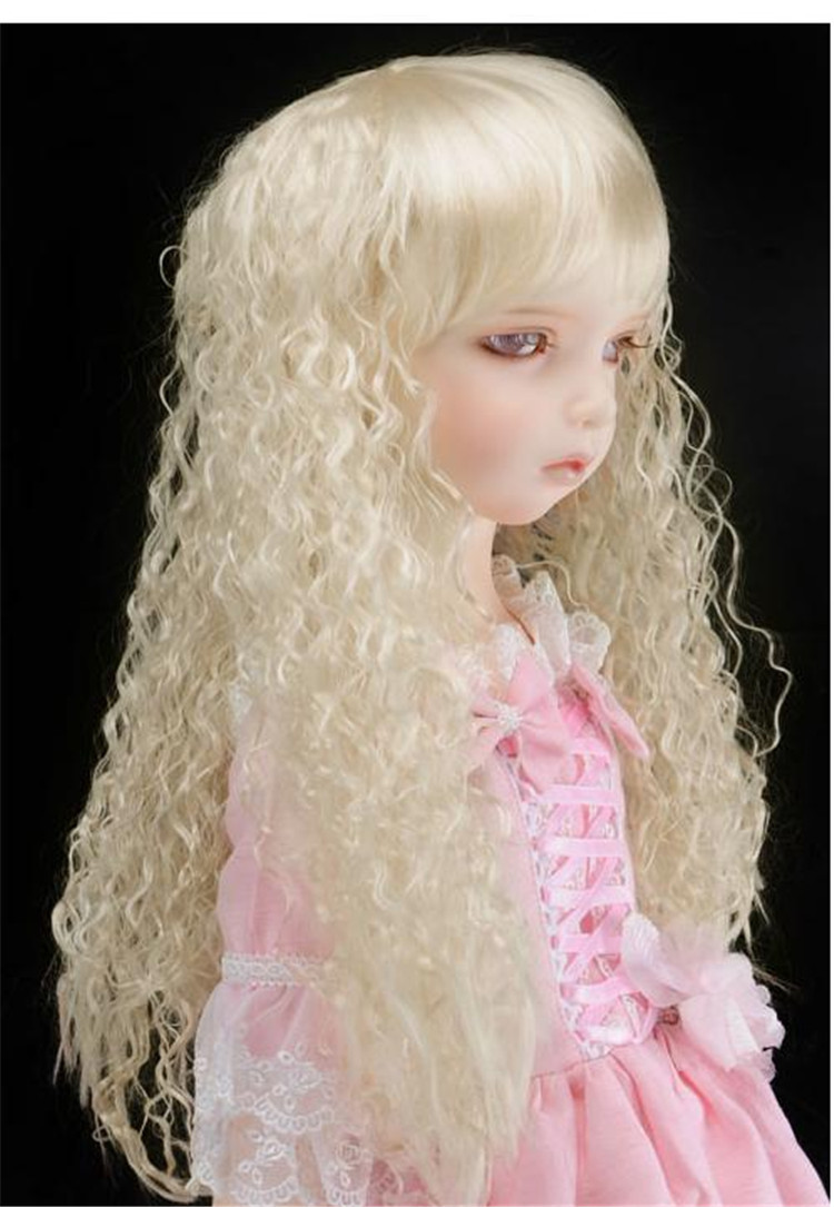 JD041  1/8  Soft Cabbage  Long Wave BJD Doll Wigs  5-6inch Lati yellow synthetic mohair wig jd275 1 8 synthetic mohair doll wigs 5 6inch lovely two curly pony bjd wig lati yellow doll accessories