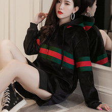 2018 Elegant Women Velvet Long Hoodies Autumn Winter Stripe Sweatshirts Hooded O-Neck Trend Pullover Casual Loose Women Tops(China)