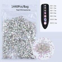 1440pcs/bag Colorful 3D Nail Decoration DIY Art Rhinestone Multi-size Crystal AB Flat Back Rhinestones