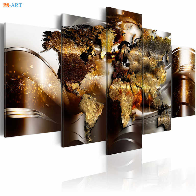 World Map Canvas Art 5 Panel Modular Picture Modern Wall Art Abstract Wall Painting Large Posters and Prints Home Decoration