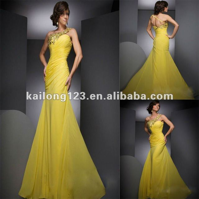 Beaded One shoulder Mermaid Floor length Yellow Ruched Chiffon ...