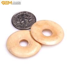 Handmade White Tan Coin Ring Circle Donuts Large OX Bone Beads  Halloween Jewelry Making Bracelet Necklace DIY Bulk