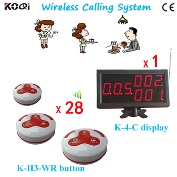 Number Call Bell System K-4-C K-H3-WR For Restaurant Service With 28pcs Call Button And 1pcs Display DHL Shipping Free