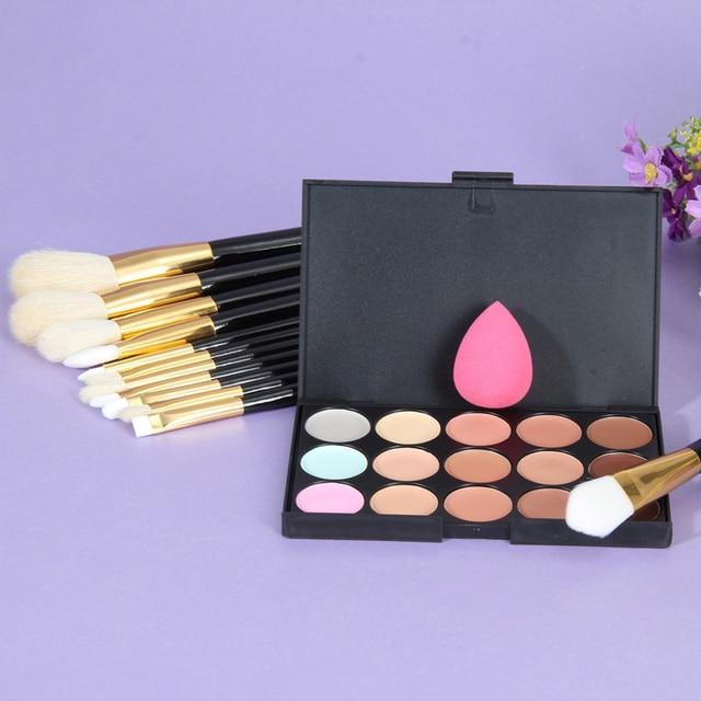 2016 15 Colors Concealer Palette + Makeup Foundation Sponge+12Pcs Makeup Brush Tool Face Shading Contour Makeup Set