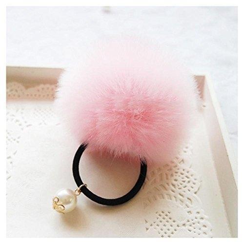 XY Необычные Chic искусственного меха кролика помпонами резинка для волос упругий хвост держатель лентой Цвет: розовый