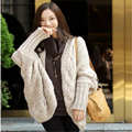 2016 Spring Autumn  Coarse Wool Cardigans Women Brand Fashion Full Batwing Sleeve Sweaters Casual Women Clothing C249