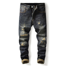 Fashion Vintage Men Jeans Dark Color Retro Wash Slim Fit Ripped Jeans Men Denim Distressed Pants Classical Hip Hop Jeans Homme mens distressed jeans ripped patchwork slim straight jeans darked wash print velvet lining warm jeans for men 15803