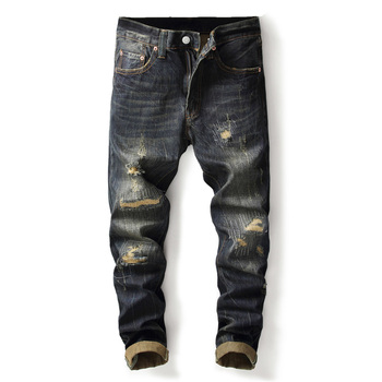Fashion Vintage Men Jeans Dark Color Retro Wash Slim Fit Ripped Jeans Men Denim Distressed Pants Classical Hip Hop Jeans Homme 2017 new designer men jeans dsel brand jeans men high quality dark color retro ripped jeans for men distressed jeans denim pants