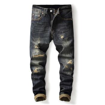 цена на Fashion Vintage Men Jeans Dark Color Retro Wash Slim Fit Ripped Jeans Men Denim Distressed Pants Classical Hip Hop Jeans Homme