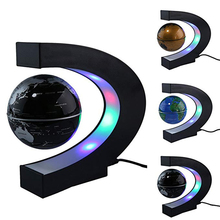 LED Magnetic Levitation With LED Lamp Floating World Map Globe Rotating C Shaped For Table Home Decor Teaching Christmas Gifts led magnetic globe world map floating table night light maglev desk lamp for birthday gift home decoration