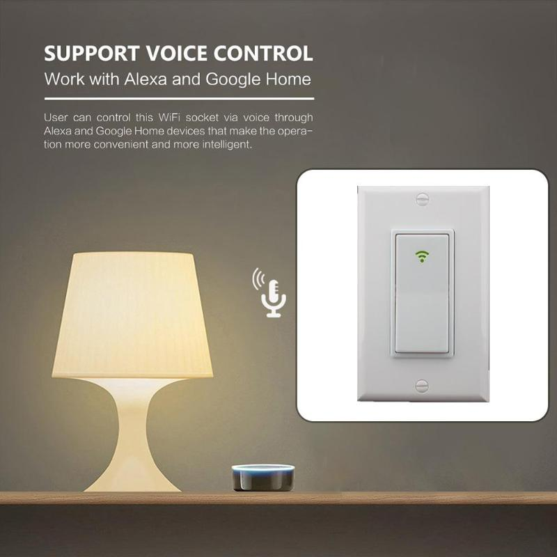 120 Type 1 Gang AC 100-240V Smart WIFI LED Light Switch Wall Panel Mobile APP Remote Control Works for Alexa Google Home IFTTT ...