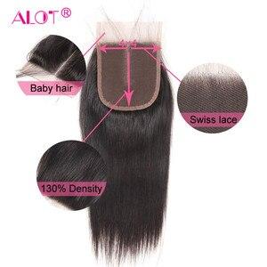 Image 5 - הרבה שיער ברזילאי ישר שיער טבעי חבילות עם סגירת תחרה צבע טבעי 3 חבילות שיער שוזר עם סגירת 4x4 ללא רמי