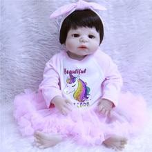 bebe 55cm Full Body Silicone Reborn Baby Girl Toy Newborn Baby Princess Toddler Doll With Unicorn Dress Lovely Birthday Gift