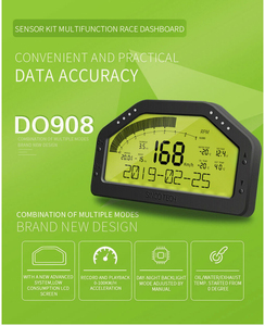 Image 2 - 9 trong 1 Cuộc Biểu Tình Đua Ô Tô Dash Bảng Điều Khiển MÀN HÌNH LCD Màn Hình Hiển Thị Kỹ Thuật Số Ga Chống Thấm Xe Đo Toàn Bộ Bộ Cảm Biến Đo Tốc Độ DO908