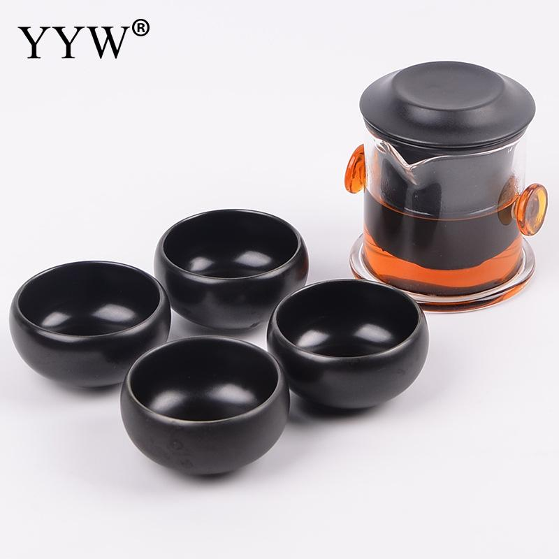 Chinese Tea Set 5 Pcs Black/White Ceramic Teaware Carry Teapot And Bag Elegant Tea Ceremony Mug Gift Porcelain Tea Cup AccessoryChinese Tea Set 5 Pcs Black/White Ceramic Teaware Carry Teapot And Bag Elegant Tea Ceremony Mug Gift Porcelain Tea Cup Accessory